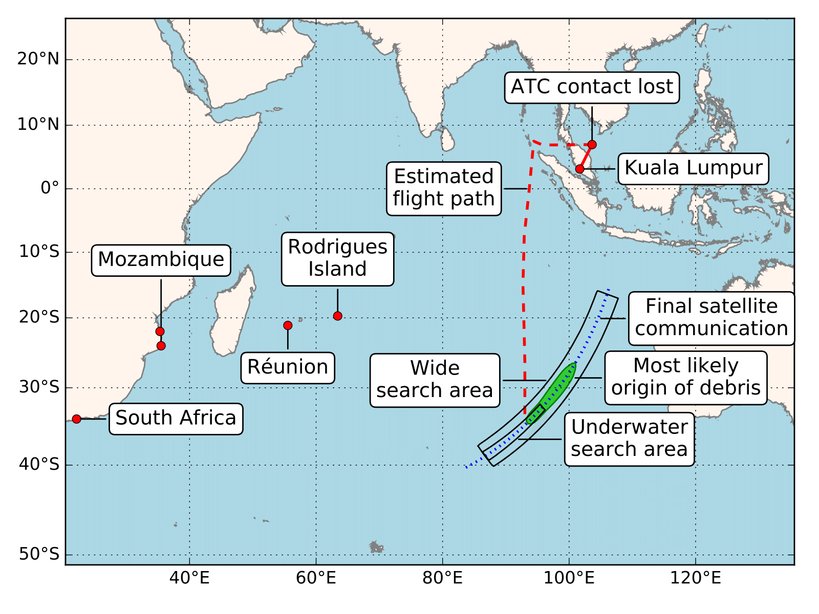 Figure 1: MH370 debris location and most likely origin compared to current underwater search area (Credit: Jansen et al., Nat. Hazards Earth Syst. Sci (2016))