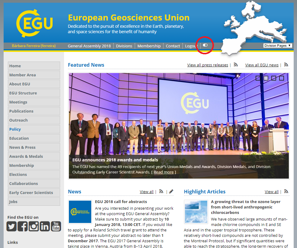 EGU - Media Library - Use the toggle button (red circle) on