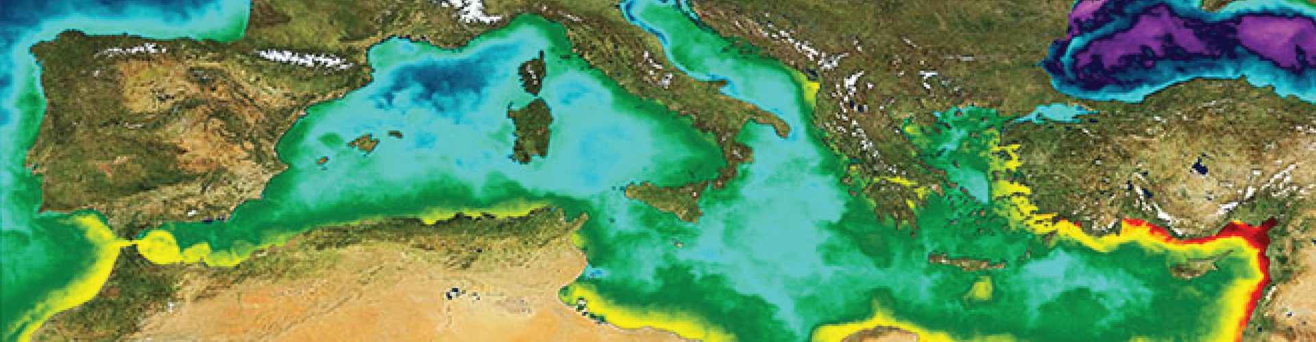 A day's sea surface temperature values in the Mediterranean, ranging from about 5 degrees Celsius (blue/violet) to 33 degrees Celsius (dark red) during October 2011 (Credit: Land: ESA;  Sea: Medspiration/ESA/Ifremer)
