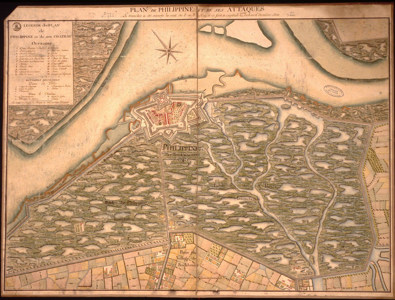 Map showing the strategic flooding of the Philippine area, southwestern Netherlands, in 1747 at the time of a French military attack (Credit: Ministère de la Défense (France), Service Historique de la Défense)