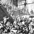 Illustration from 1874 showing German emigrants boarding a ship in Hamburg on their way to America