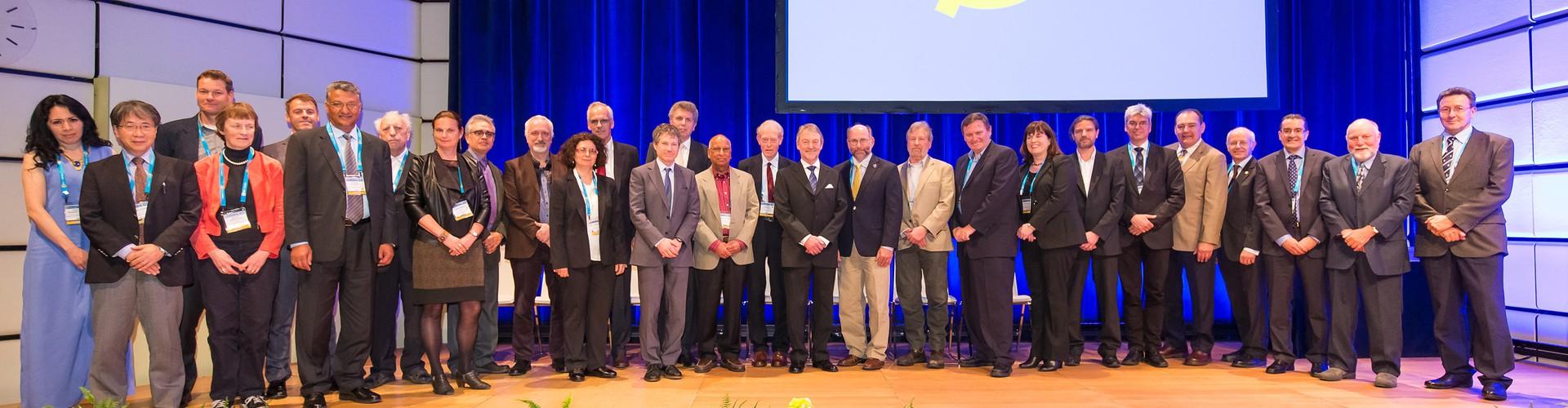 A few of last year's awardees with the EGU President and Vice-President at the EGU 2016 Awards Ceremony (Credit: EGU/Foto Pfluegl)