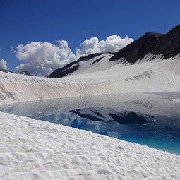 Pond on top of Plaine Morte glacier