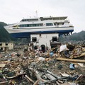 Boat dragged inland in Akahama, Japan by the 2011 tsunami