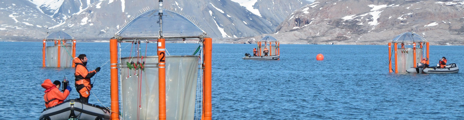 Scientists checking the mesocosms off the coast of Svalbard (Credit: Ulf Riebesell/GEOMAR)