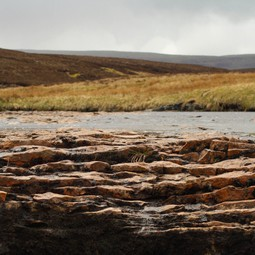 Dry river bed in a peat upland in Northern England