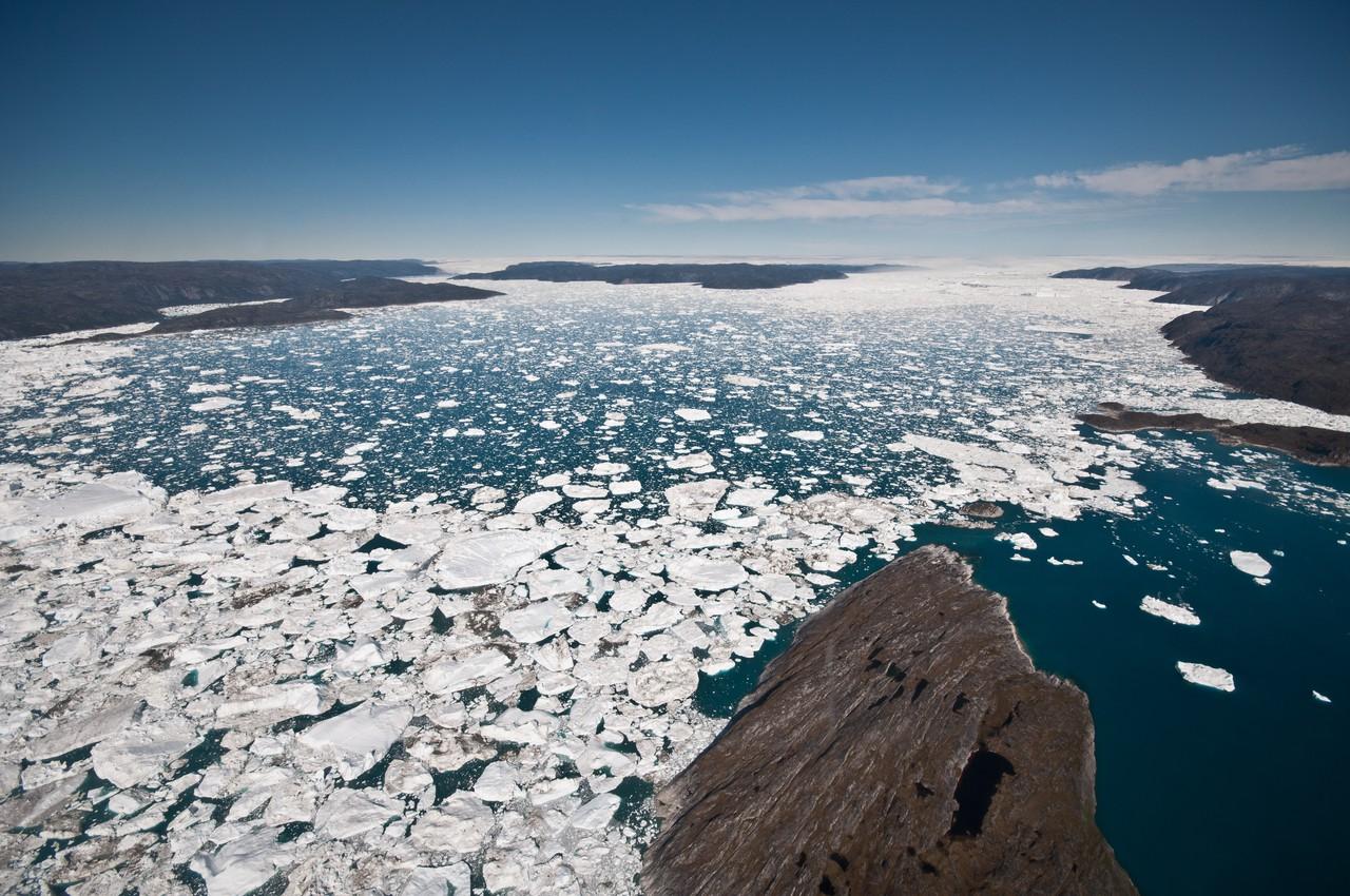 Jakobshavn Isfjord (ice fjord) (Credit: Ian Joughin, PSC/APL/UW)