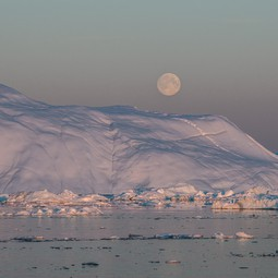 Moon over iceberg, Disko Bay