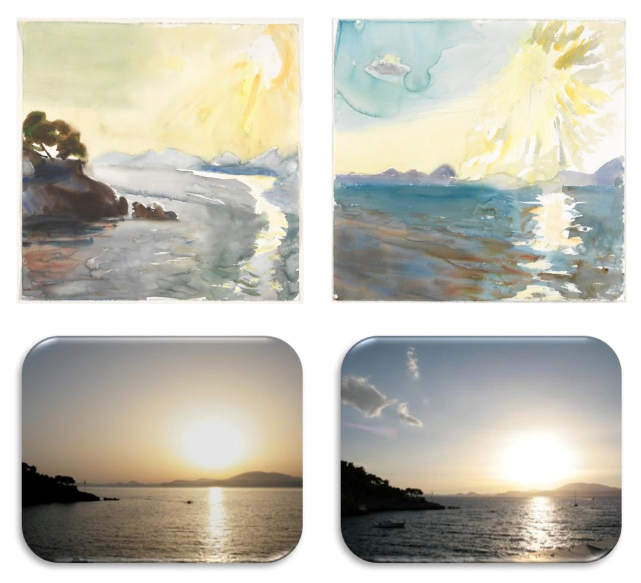 Sunset paintings and photographies (Island of Hydra, June 2010) (Credit: P. Tetsis (paintings) and C. Zerefos (photos))