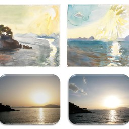 Sunset paintings and photographies (Island of Hydra, June 2010)