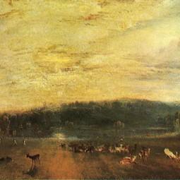 The Lake, Petworth: Sunset, Fighting Bucks, by J. M. W. Turner