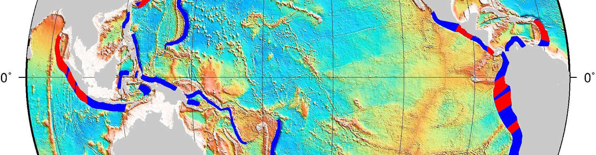 Red marks the hotspots: strong earthquakes occur more often where cracks on the seafloor overlap subduction zones (in blue). (Credit: Müller and Landgrebe)