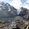 Glacier and glacier lake in the Bolivian Andes