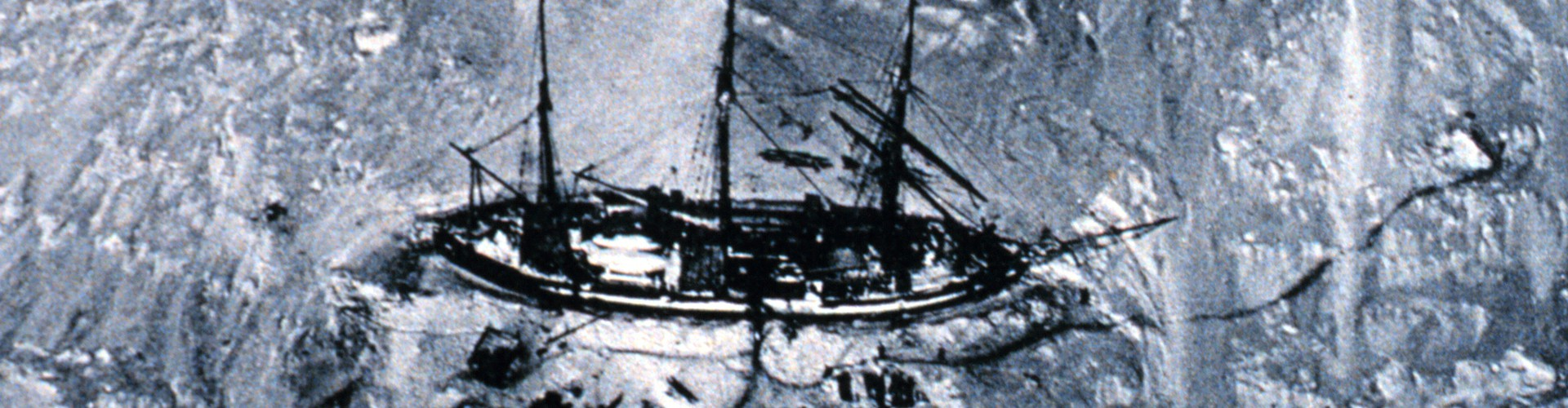 One of the first aerial photographs of the Antarctic, this picture was obtained from a balloon in 1901. It shows the ship of German explorer Erich von Drygalski's, the log books of which were used in the study. (Credit: National Oceanic and Atmospheric Administration/Department of Commerce)