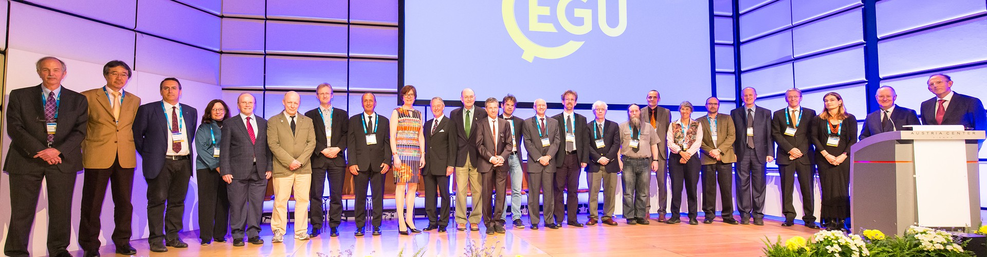 Some of last year's awardees with the EGU President and Vice-President at the EGU 2017 Awards Ceremony (Credit: EGU/Foto Pfluegl)