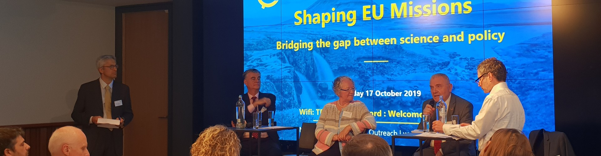 Panelists speaking at the EGU's shaping EU Missions event in Brussels, Belgium.
