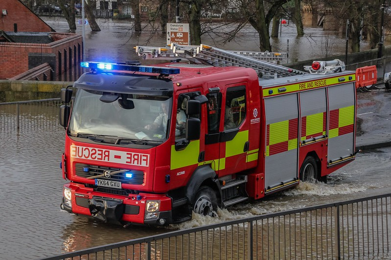 Fire brigade in flood water (Credit: Richard Scott via Flickr, CC-BY-NC2.0)