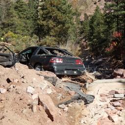 Damage casued by September 2013 flooding near Boulder, Colorado USA