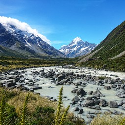 The Hooker River in Aoraki Mount Cook National Park, Aotearoa New Zealand