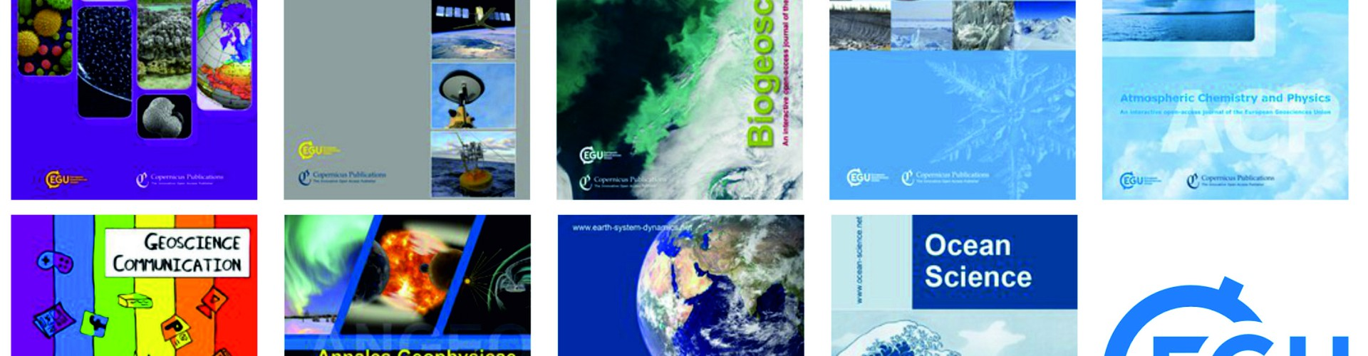 Covers from EGU's open access journals (Credit: EGU)