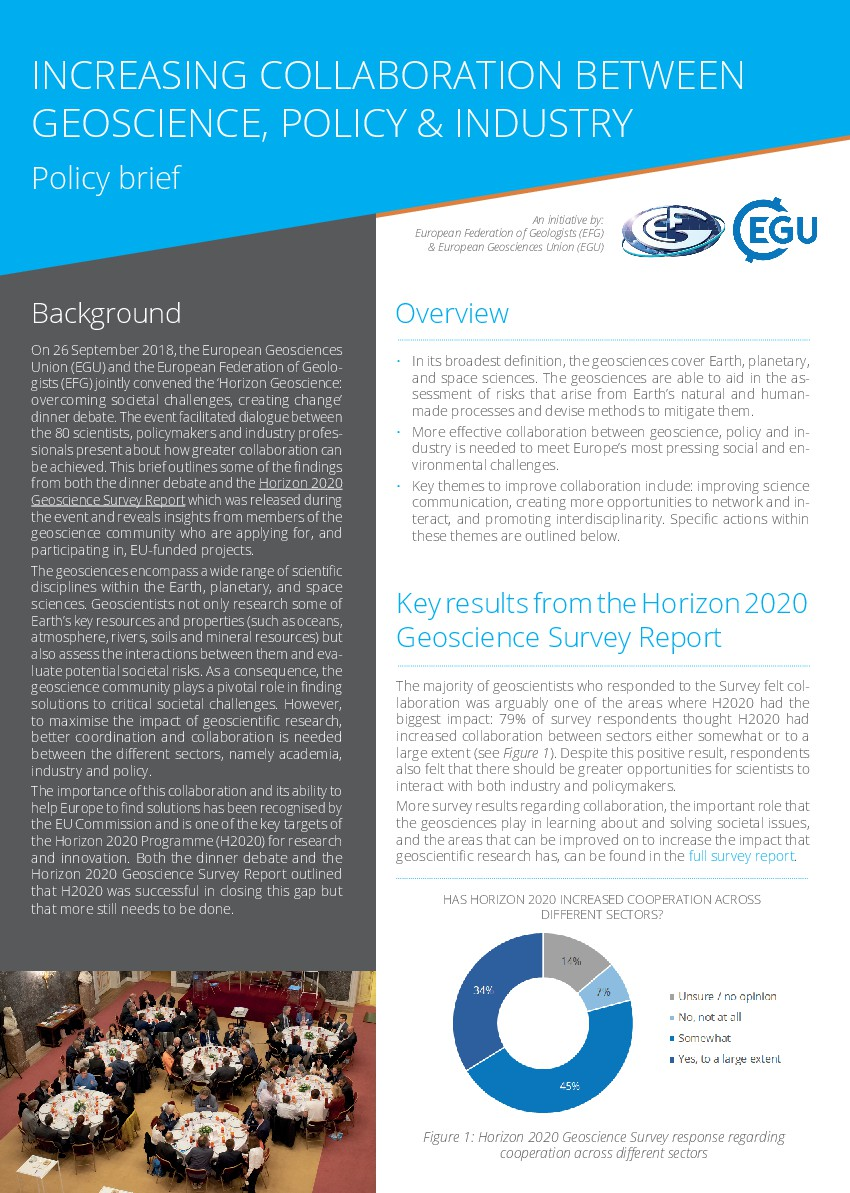 EGU/EFG Policy Brief: Increasing collaboration between geoscience, policy and industry
