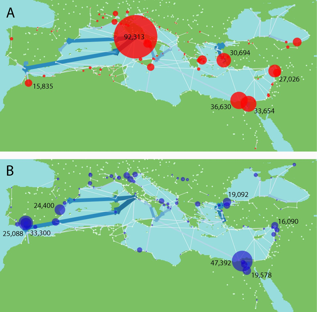 Virtual water imports and exports in the Roman world (Credit: Dermody et al., Hydrology and Earth System Sciences, 2014)