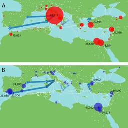 Virtual water imports and exports in the Roman world