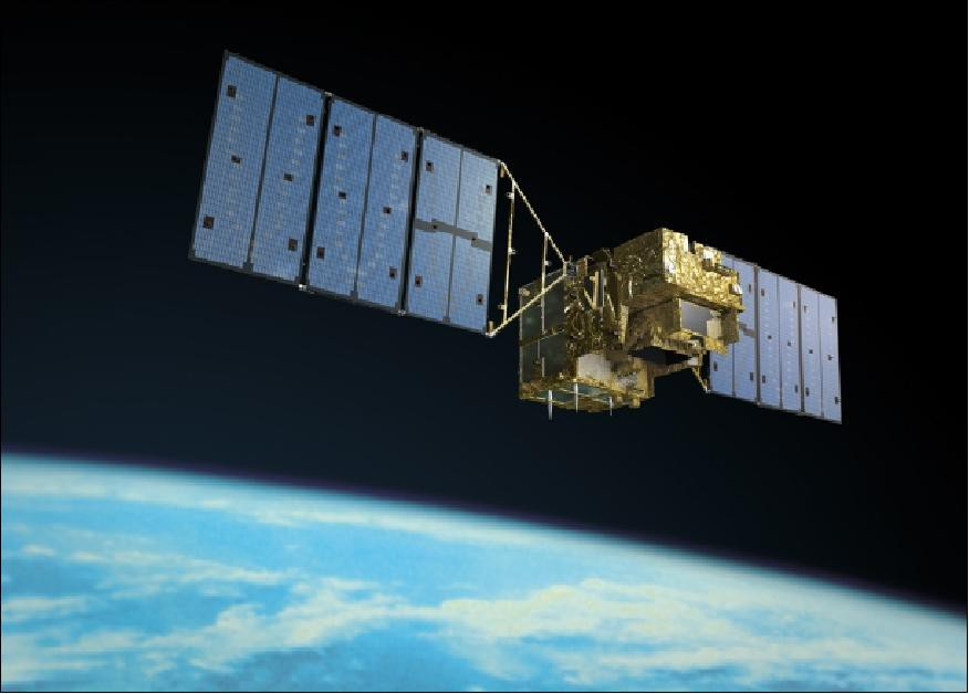 An artist's rendition of the Greenhouse gases Observing SATellite (GOSAT) operating in space (Credit: JAXA)