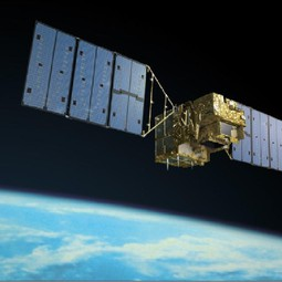 An artist's rendition of the Greenhouse gases Observing SATellite (GOSAT) operating in space