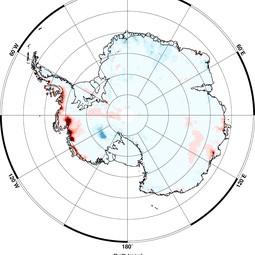 Elevation change in Antarctica