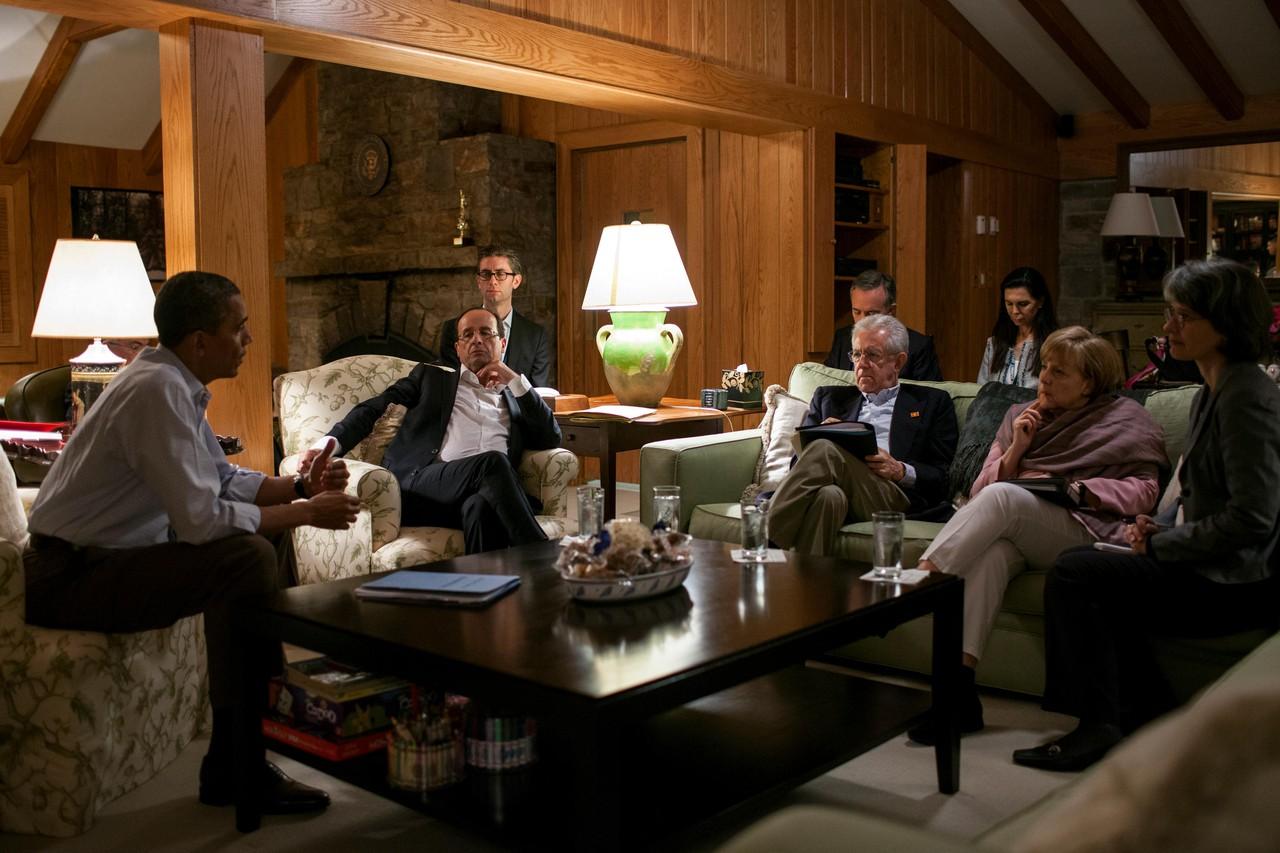 Barack Obama, Francois Hollande, Mario Monti and Angela Merkel at Camp David during the May 2012 G8 meeting