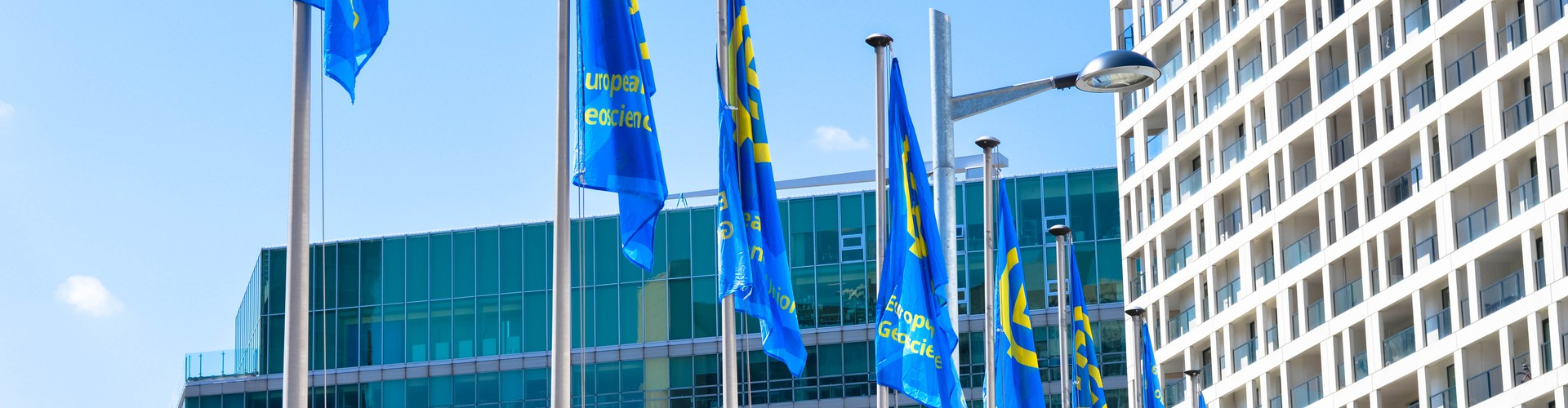 Flags outside the ACV during the EGU General Assembly (Credit: Kai Boggild/EGU)