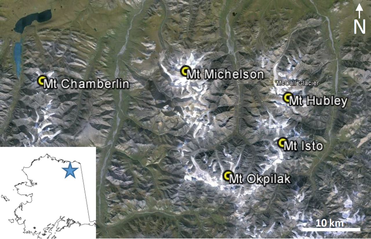Location of the five tallest peaks in the US Arctic (Credit: Nolan & DesLauriers, The Cryosphere, 2016)