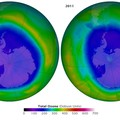 Antarctic ozone 'hole' in September 2006 (left) and 2011 (right). Purple and blue show areas with lower ozone
