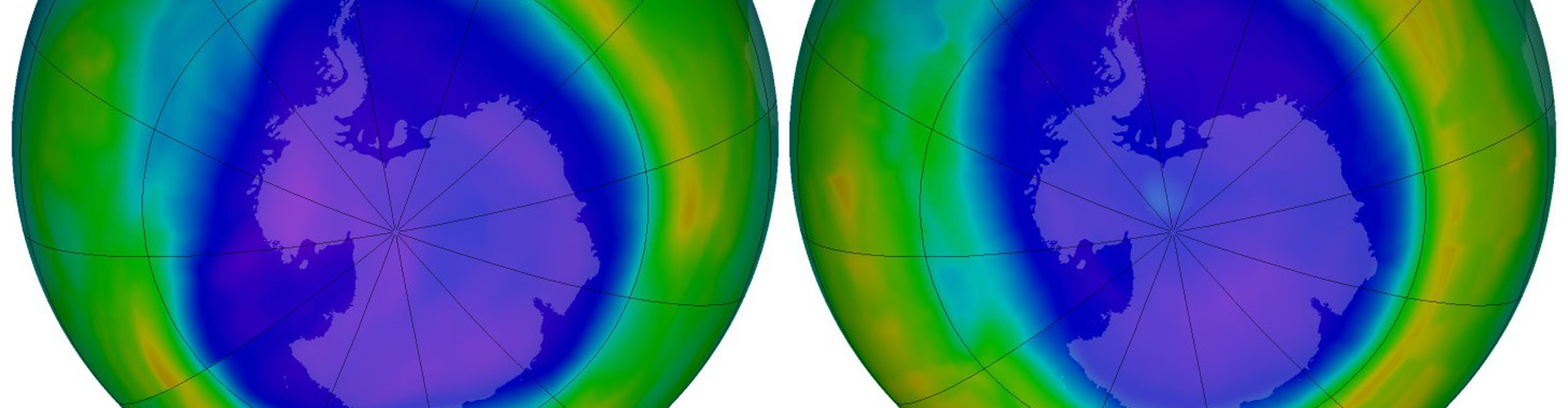 Antarctic ozone 'hole' in September 2006 (left) and 2011 (right). Purple and blue show areas with lower ozone (Credit: NASA's Earth Observatory)