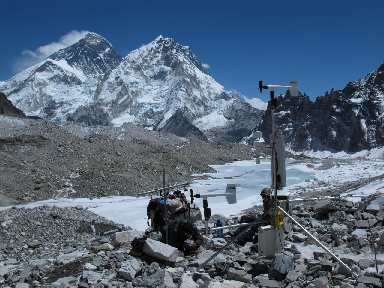Taking measurements on a glacier in the Dudh Koshi basin (Credit: Patrick Wagnon)