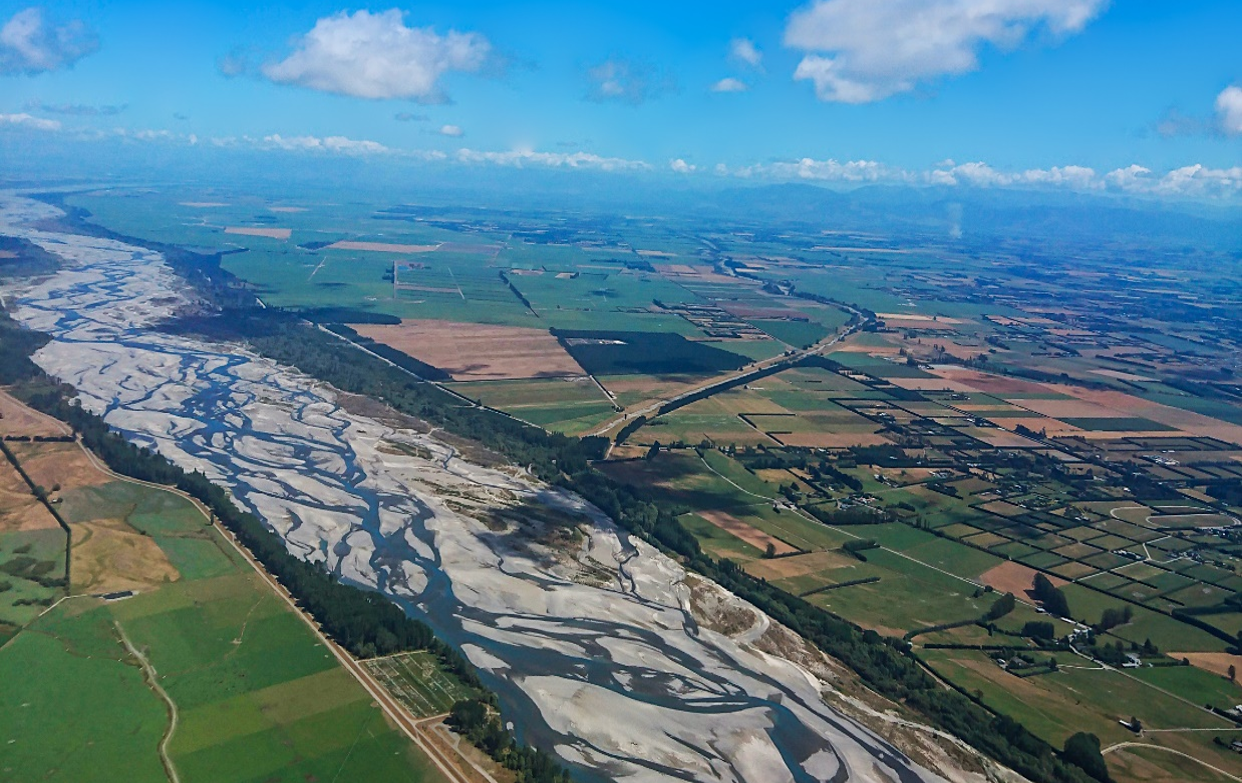 The braided Waimakariri River located at the heart of Waitaha Canterbury, in Aotearoa New Zealand's South Island (Credit: University of Canterbury)