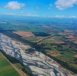The braided Waimakariri River located at the heart of Waitaha Canterbury, in Aotearoa New Zealand's South Island