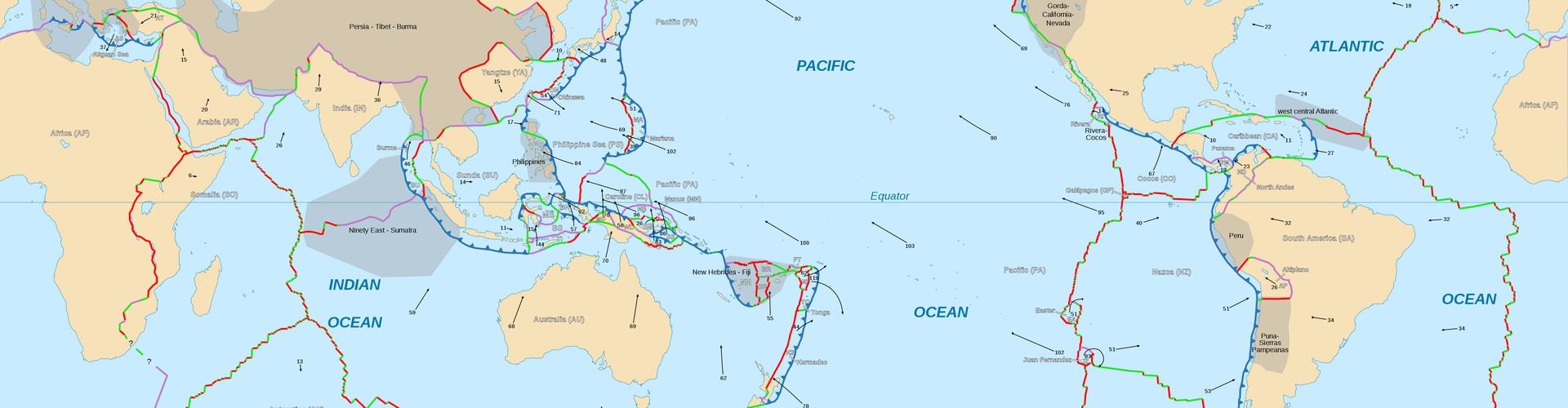 Tectonic plate boundaries (Credit: NGDC World Coast Line data/P. Bird/E. Gaba)