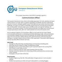 EGU Communications Officer job ad 2019