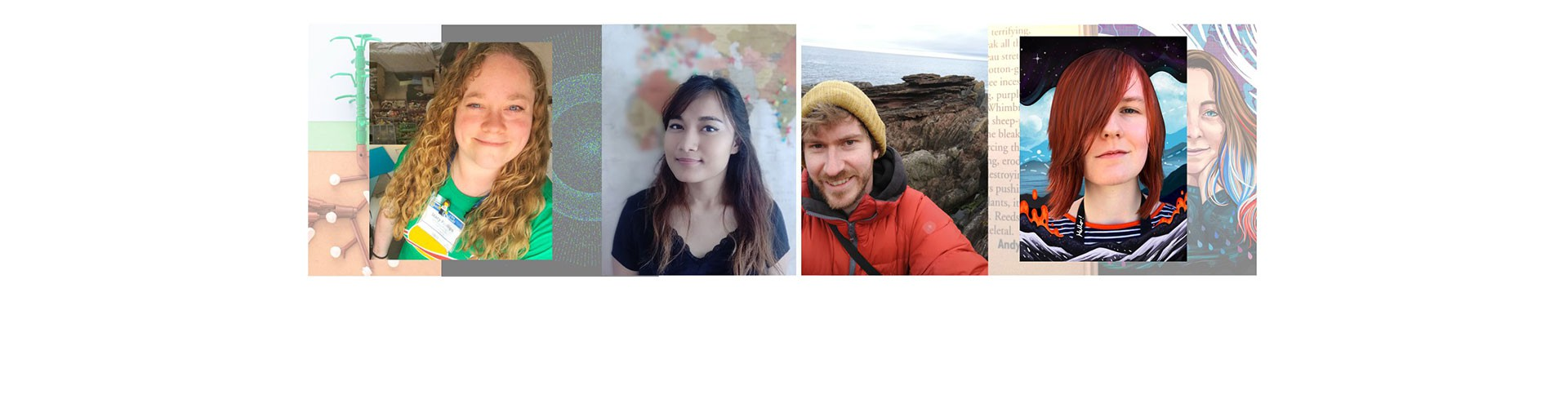 Artists participating in vEGU21 (Credit: From the left: Stacy Phillips, Priyanka Das Rajkakati, Andy Emery, Kelly Stanford)