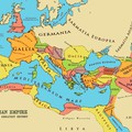 The various regions of the Roman Empire – at its largest size – around the Mediterranean Sea (Mediterraneum Mare)