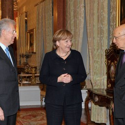 Mario Monti (left), Angela Merkel and Giorgio Napolitano