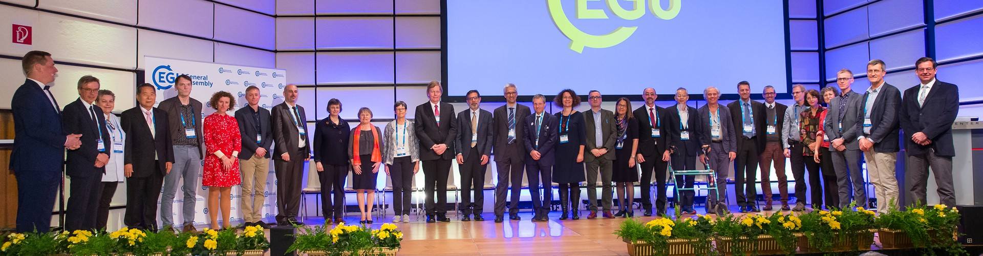 Some of the 2019 awardees with the EGU President and Vice-President at the 2019 EGU Awards Ceremony. (Credit: Photo Pfluegl)