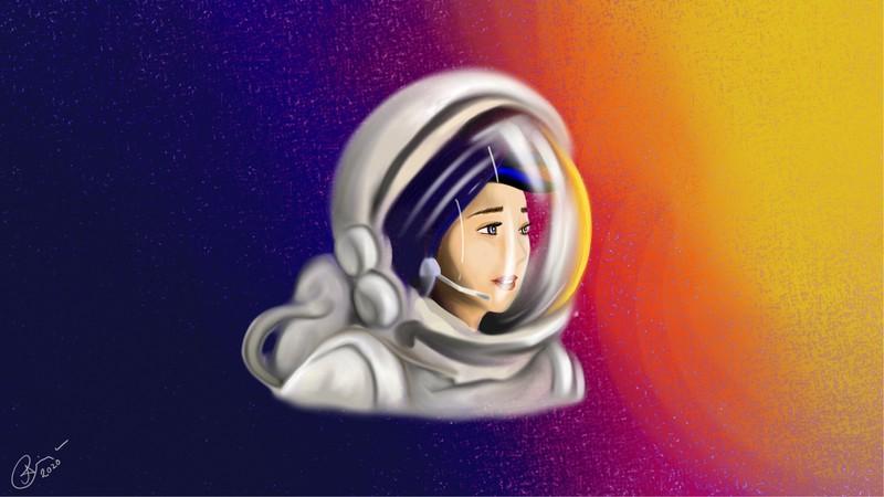 Astronaut (Credit: Priyanka Das Rajkakati, EGU 2020 Virtual Artist in Residence @PriyankaSpace)