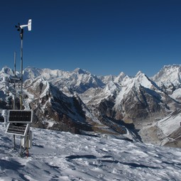 Instruments used on Mera Glacier to study the Dudh Koshi basin (Everest visible in the background)