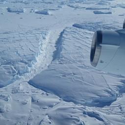 Frozen icebergs near Thwaites Glacier in West Antarctica