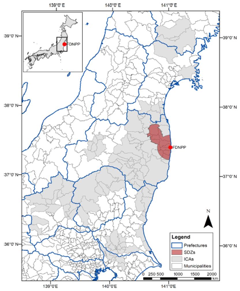 Map of Fukushima prefecture (Credit: Evrard et al., SOIL 2019)
