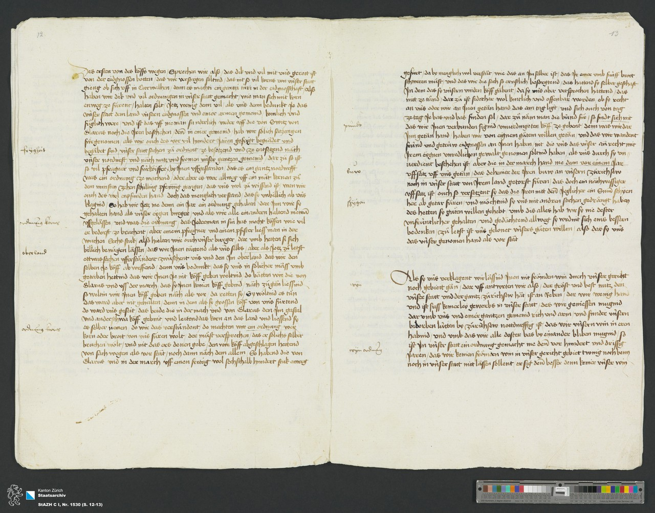 Historical documents describing the impacts of the 1430s extraordinary climate (Credit: Zurich, Staatsarchiv)