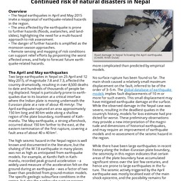 EGU Information Briefing: Continued risk of natural disasters in Nepal